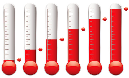 fundraiser: set of thermometers with different levels of indicator fluid Illustration