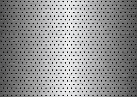 lamiera metallica: Spazzolato lamiera sfondo lastra con fori con grana  Vettoriali