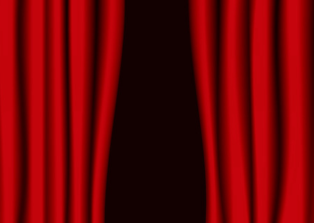parting: Red theater curtains partly open with black background Stock Illustratie