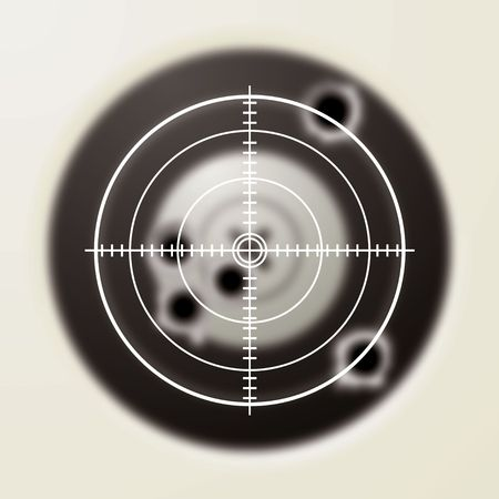 gun sight: Target with gun shot holes and hunters sporting sight Stock Photo