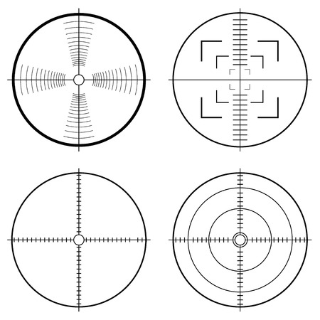 Illustration of a hunting sight with target lines and guide to aim