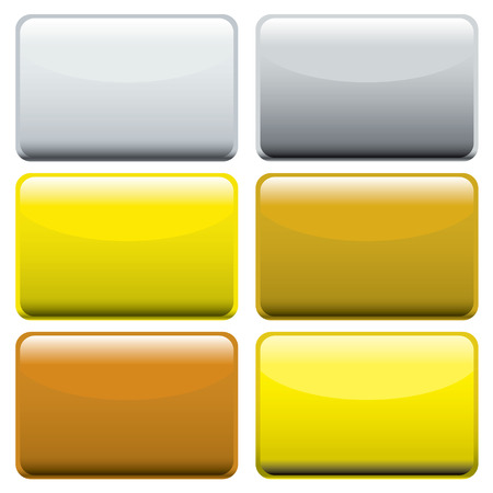 Collection of six metallic oblong web buttons with light reflection Stock Vector - 6333268