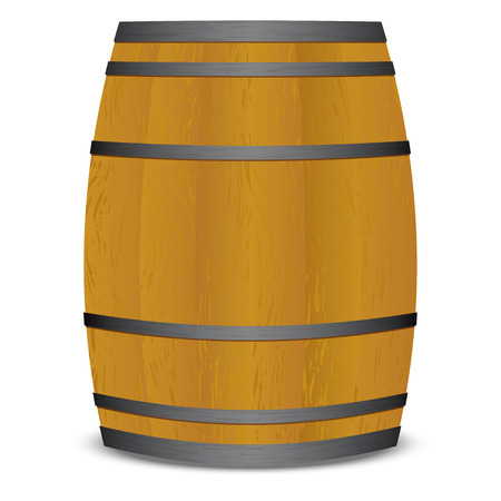 Wooden beer keg barrel with metal straps and shadow