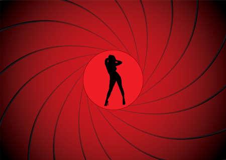 geweer: Sexy vrouwen dancing in een gun barrel zicht zoals james bond