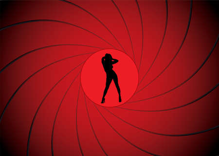 gun sight: Sexy women dancing in a gun barrel sight like james bond