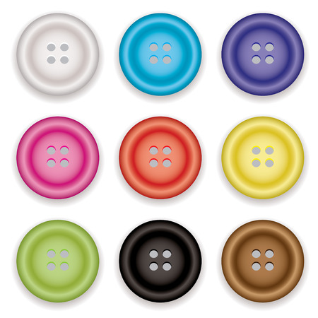 Collection of clothes buttons with a selection of colors with shadow Illustration