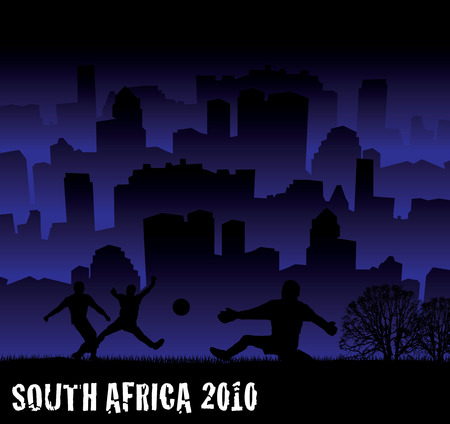 South africa 2010 football tournament  inspired illustration with city scape Vector
