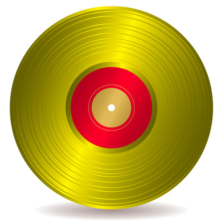 disc: Award winning golden disc record with drop shadow