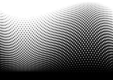 Abstract black modern surf wave made with halftone dots