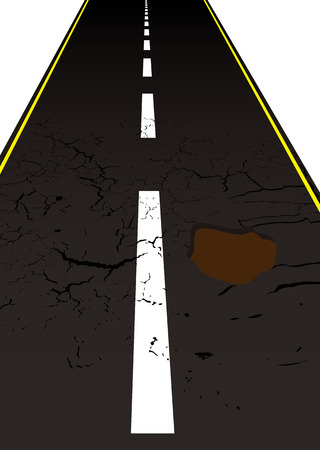 road surface: Main road with cracked mettled surface with pot holes Illustration