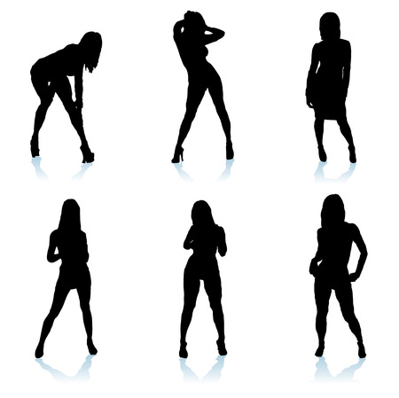 Six sexy women posing in different positions with shadows Vector