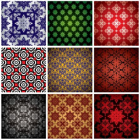 artdeco: Abstract collection of nine seamless wallpaper background patterns