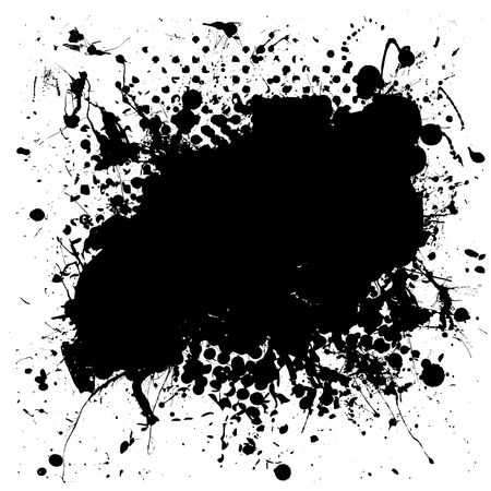 speckled: Black and white grunge ink splat background with copy space for your text