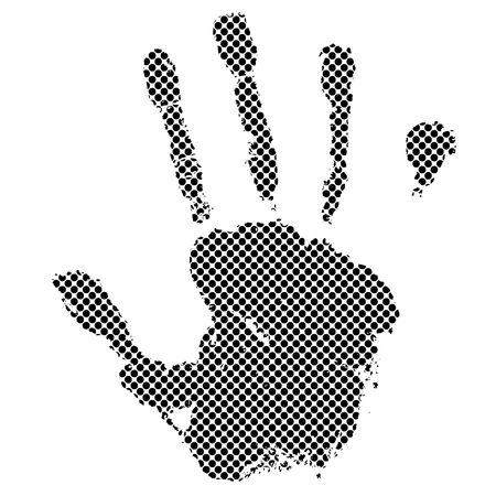 Black halftone dot hand with illustrated grunge effect Stock Photo - 6496885