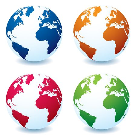 illustrated globes: Four illustrated realistic earth globes in different colors and shadow Stock Photo
