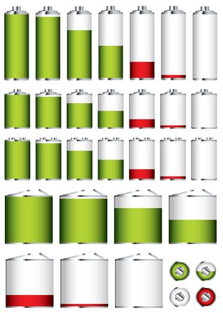 Collection of different battery sizes and shapes with charge levels Stock Photo - 7079137
