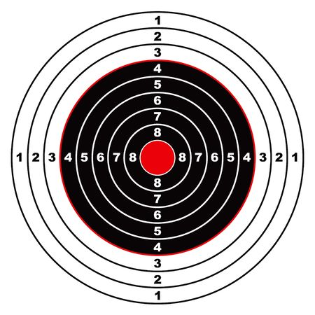 Illustrated rifle target with black sections and points marked on circle photo