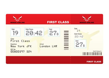 first class: Red first class plane ticket with gate number and seat