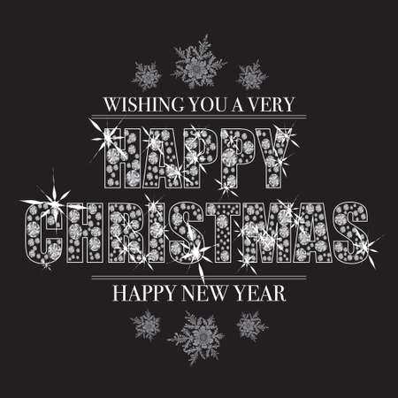 glint: Bling christmas message with happy new year and diamonds