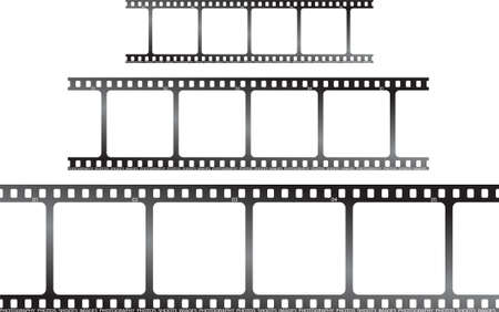 exposed: a set of three films laid horizontal to be used as placeholders or a background
