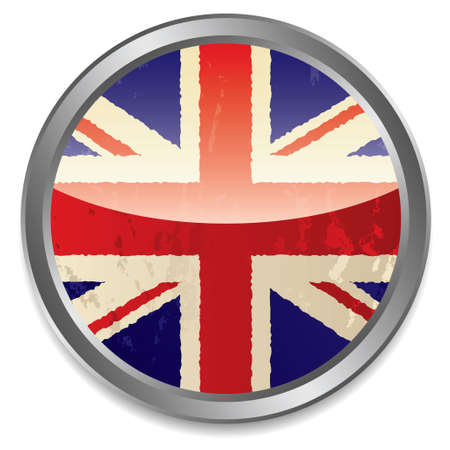 bevel: Grunge british flag icon with light reflection and silver bevel Stock Photo