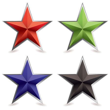 bevel: Four star shaped icons with silver metal bevel and shadow