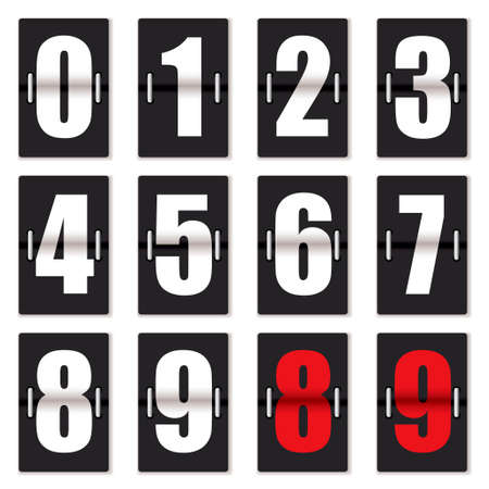 numbering: Old fashioned number counter with black background and red and white numbering
