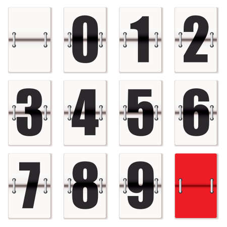 kilowatt: Number cards with counter flaps as used on train time tables Stock Photo