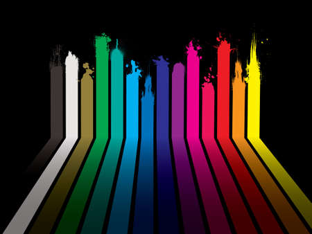 dribble: Bright rainbow paint dribble background with stripes and shadow