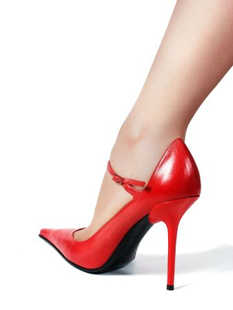 Woman's leg in red shoe and nylons. Shot on white background (isolated) with smooth little shadow to make image more realistic and Stock Photo - 626453