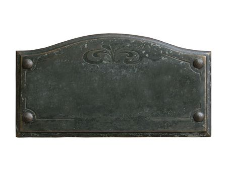 ornamented: Old blank ornamented bronze plate with space for custom text on it