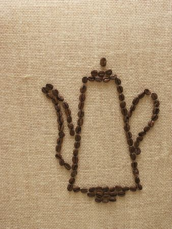sackcloth: Drawing of coffee-pot by coffee seed on the sackcloth Stock Photo
