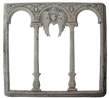 cadre: old stone decorated frame. Isolated with clipping path Stock Photo