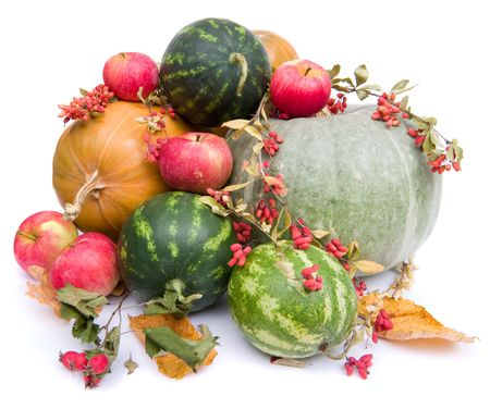 glut: colorful pumpkins, apples, water melons on white background