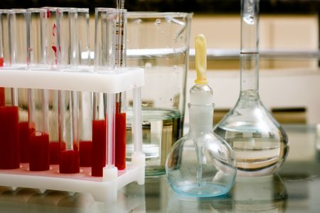 weighting: Laboratory equipment - test tubes, flasks, weighting bottles etc. Still life, close-up