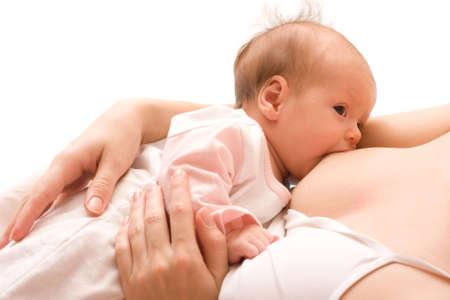 beaux seins: L'allaitement maternel. Jeune maman et b�b� 1,5 mois