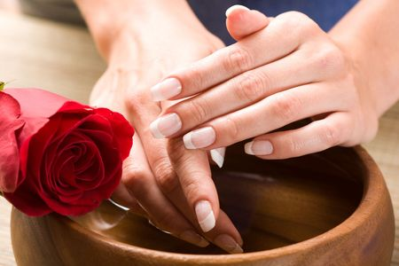 Beautiful fingers with French manicure and red rose Stock Photo - 3800934