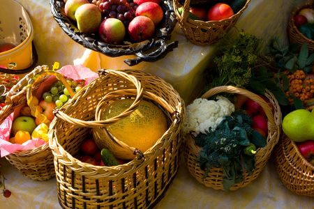 glut: Autumn market - fresh fruits and vegetables in the baskets Stock Photo
