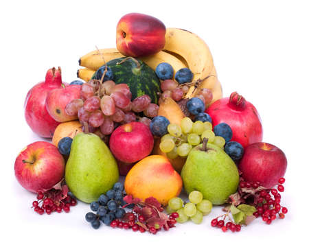glut: lots of fresh and ripe fruits on white background