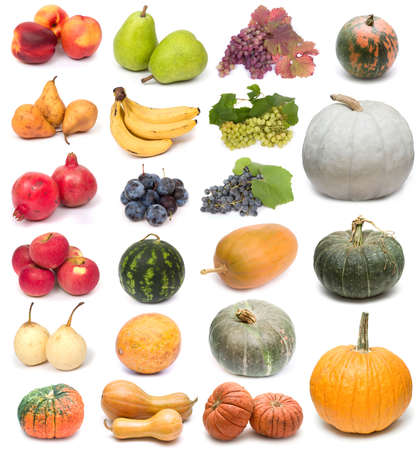 glut: image set of fresh ripe fruits and pumpkins on white background. See larger versions of each image separately in my portfolio