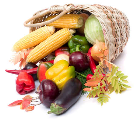 glut: lots of fresh and ripe vegetables in the basket