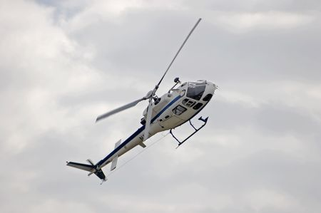on the skids: A helicopter in flight