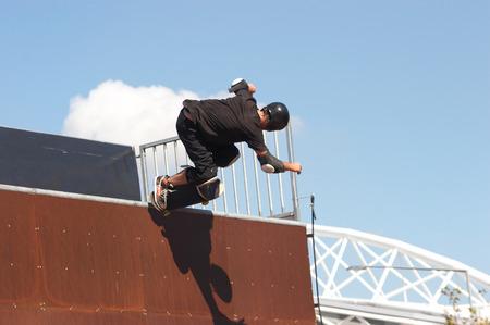 Skateboarder on a wave ramp Stock Photo - 1622661