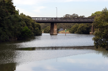 navigational light: Parramatta River and bridge at Parramatta Stock Photo