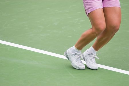knees bent: Tennis Player Ready to serve Stock Photo