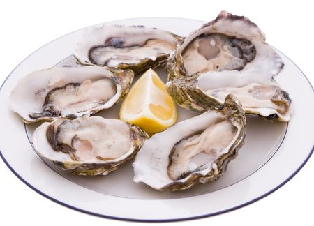 pith: Half a dozen Oysters on a plate with a lemon Stock Photo