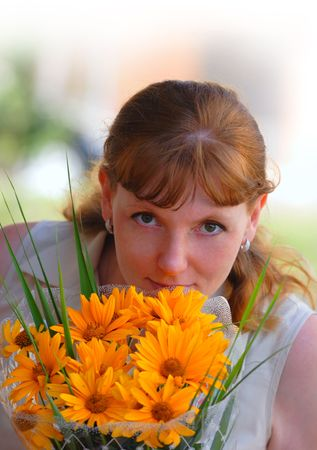 Woman with flowers photo