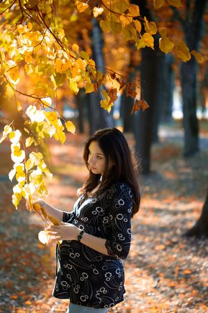 Pregnant woman hold tree branch in autumn park photo