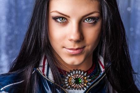 Portrait of lovely teenage girl  Cute brunette headshot