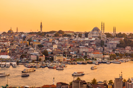 bosphorus: Istanbul, Turkey, View on Golden Horn bay from Galata Tower